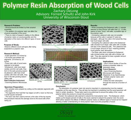 Zachary DeLong Advisors: Forrest Schultz and John Kirk University of Wisconsin-Stout Research Problem: - Wood products are limited by their physical properties.