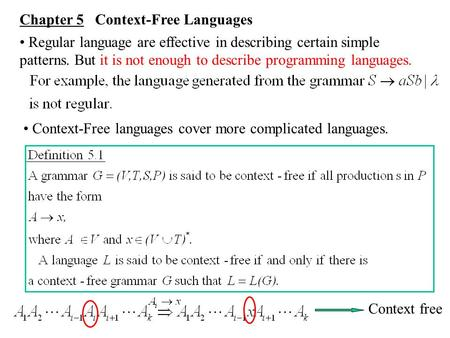 Chapter 5 Context-Free Languages Regular language are effective in describing certain simple patterns. But it is not enough to describe programming languages.
