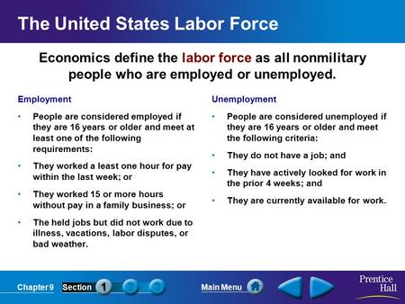 Chapter 9SectionMain Menu Economics define the labor force as all nonmilitary people who are employed or unemployed. The United States Labor Force Employment.