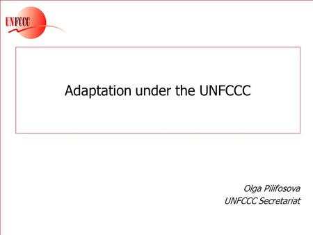 Adaptation under the UNFCCC Olga Pilifosova UNFCCC Secretariat.