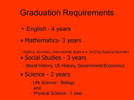 Graduation Requirements English - 4 years Social Studies - 3 years Mathematics- 3 years - Algebra, Geometry, Intermediate Algebra or Unifying Algebra/Geometry.