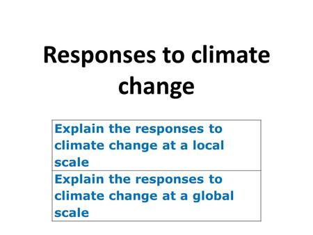 Responses to climate change Explain the responses to climate change at a local scale Explain the responses to climate change at a global scale.