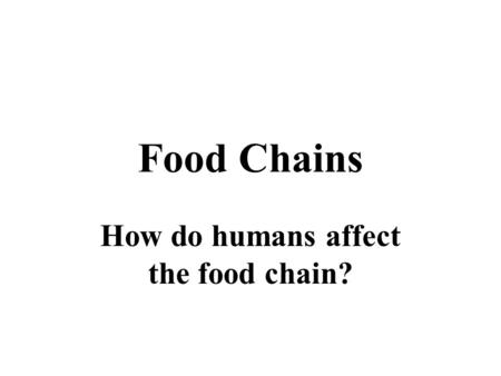 Food Chains How do humans affect the food chain?.