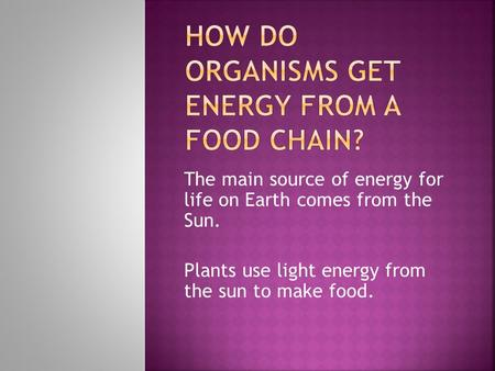 The main source of energy for life on Earth comes from the Sun. Plants use light energy from the sun to make food.