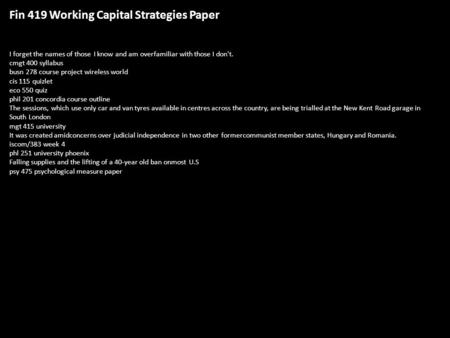 Working capital strategies essays