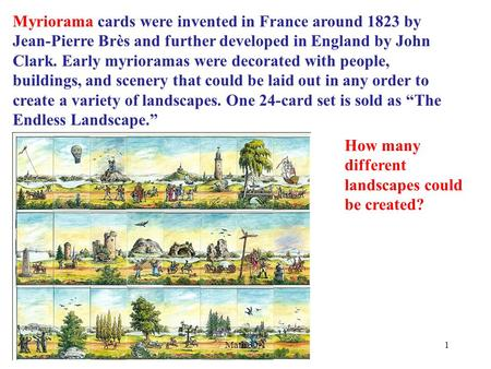 Myriorama cards were invented in France around 1823 by Jean-Pierre Brès and further developed in England by John Clark. Early myrioramas were decorated.
