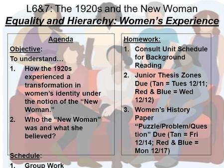 L6&7: The 1920s and the New Woman Equality and Hierarchy: Women's Experience Agenda Objective: To understand… 1.How the 1920s experienced a transformation.