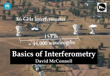 1 ATNF Synthesis Workshop 2003 Basics of Interferometry David McConnell.