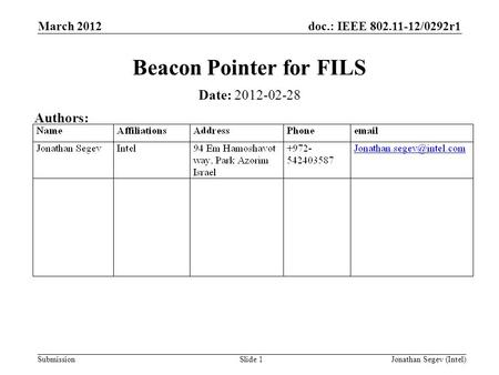 Doc.: IEEE 802.11-12/0292r1 Submission March 2012 Jonathan Segev (Intel)Slide 1 Beacon Pointer for FILS Date: 2012-02-28 Authors: