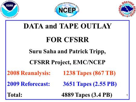 1 DATA and TAPE OUTLAY FOR CFSRR Suru Saha and Patrick Tripp, CFSRR Project, EMC/NCEP 2008 Reanalysis: 1238 Tapes (867 TB) 2009 Reforecast: 3651 Tapes.