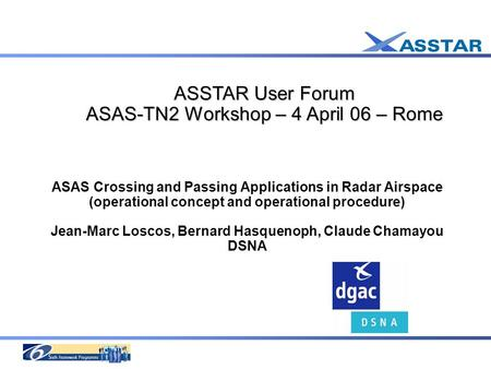 ASAS Crossing and Passing Applications in Radar Airspace (operational concept and operational procedure) Jean-Marc Loscos, Bernard Hasquenoph, Claude Chamayou.