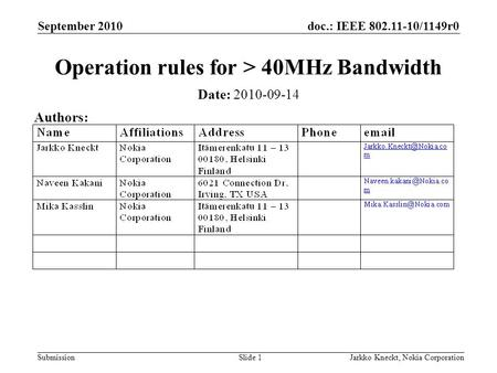 Doc.: IEEE 802.11-10/1149r0 Submission September 2010 Jarkko Kneckt, Nokia CorporationSlide 1 Operation rules for > 40MHz Bandwidth Date: 2010-09-14 Authors: