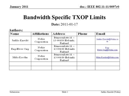 Doc.: IEEE 802.11-11/0097r0 SubmissionJarkko Kneckt (Nokia)Slide 1 Bandwidth Specific TXOP Limits Date: 2011-01-17 Authors: January 2011.