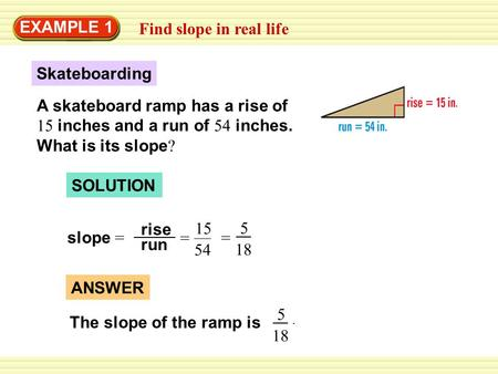 Find slope in real life EXAMPLE 1 Skateboarding A skateboard ramp has a rise of 15 inches and a run of 54 inches. What is its slope ? SOLUTION slope =