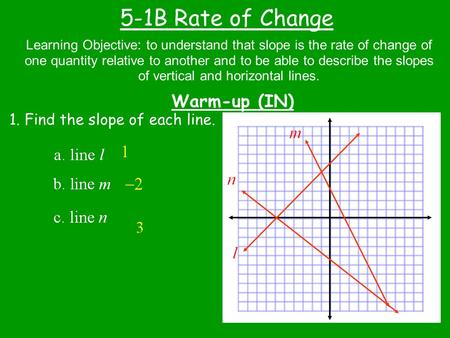 5-1B Rate of Change Warm-up (IN) Learning Objective: to understand that slope is the rate of change of one quantity relative to another and to be able.