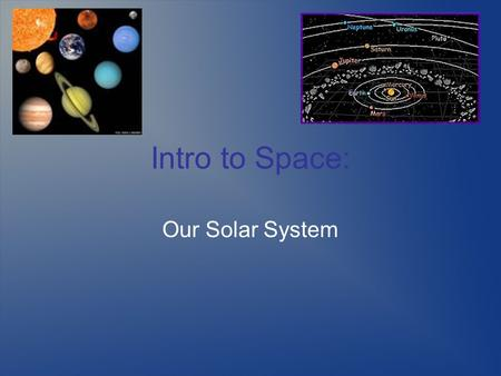 Intro to Space: Our Solar System. The Basic Concepts Our solar system consists of 4 basic parts.  The Sun  Tiny interior rocky planets  Larger exterior.