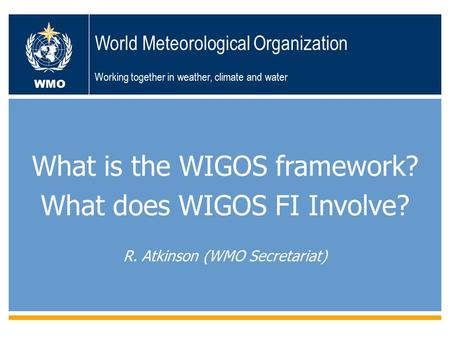 Geneva, 19-23 November 2012ICG-WIGOS TT-WRM First Session WMO World Meteorological Organization Working together in weather, climate and water What is.