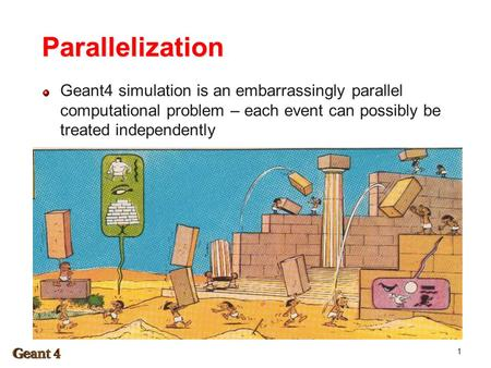 Parallelization Geant4 simulation is an embarrassingly parallel computational problem – each event can possibly be treated independently 1.