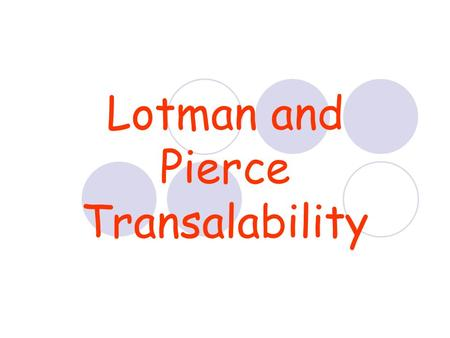 Lotman and Pierce Transalability. Jurij Lotman Tartu School of Semiotics.