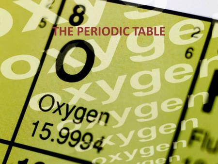 THE PERIODIC TABLE. THE SEARCH FOR THE PERIODIC TABLE 1860 – 60 elements known – organized into groups w/similar properties – also used atomic masses.