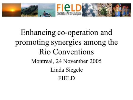 Enhancing co-operation and promoting synergies among the Rio Conventions Montreal, 24 November 2005 Linda Siegele FIELD.