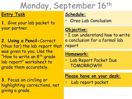 Monday, September 16 th Entry Task 1. Give your lab packet to your partner. 2. Using a Pencil-Correct (thus far) the lab report that was given to you.