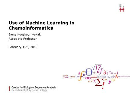 Use of Machine Learning in Chemoinformatics