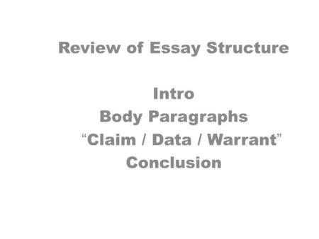 thesis claim lead in data warrant The toulmin method of argumentation claim 2 data 3 warrant 4 backing 5 a claim that negates or disagrees with the thesis/claim ex.