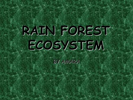 RAIN FOREST ECOSYSTEM BY AMARA. LOCATION Almost all rain forests are near the equator. They occupy large areas in Africa, Asia, and Central and South.