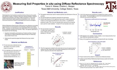 Measuring Soil Properties in situ using Diffuse Reflectance Spectroscopy Travis H. Waiser, Cristine L. Morgan Texas A&M University, College Station, Texas.