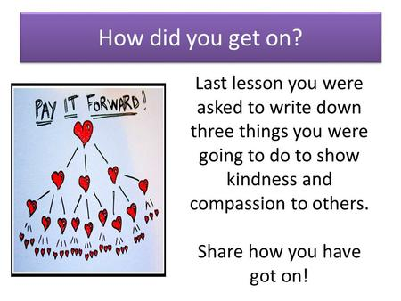 How did you get on? Last lesson you were asked to write down three things you were going to do to show kindness and compassion to others. Share how you.