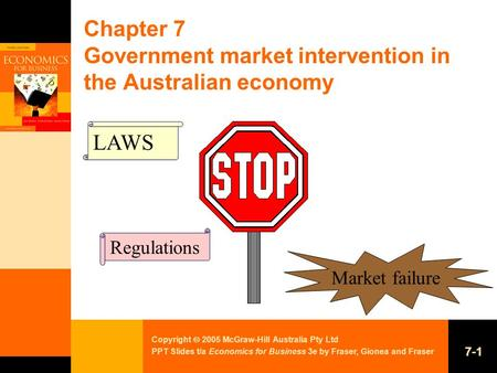 Copyright  2005 McGraw-Hill Australia Pty Ltd PPT Slides t/a Economics for Business 3e by Fraser, Gionea and Fraser 7-1 Chapter 7 Government market intervention.