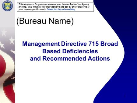 1 Management Directive 715 Broad Based Deficiencies and Recommended Actions (Bureau Name) This template is for your use to create your bureau State of.