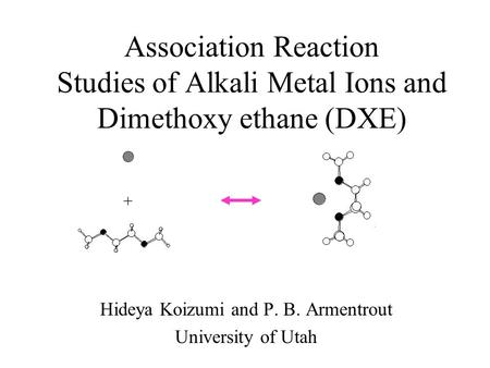 Association Reaction Studies of Alkali Metal Ions and Dimethoxy ethane (DXE) Hideya Koizumi and P. B. Armentrout University of Utah +