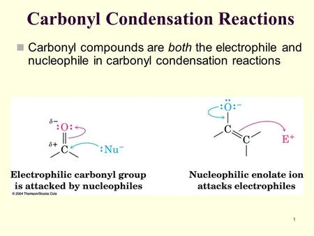 1 Carbonyl Condensation Reactions Carbonyl compounds are both the electrophile and nucleophile in carbonyl condensation reactions.