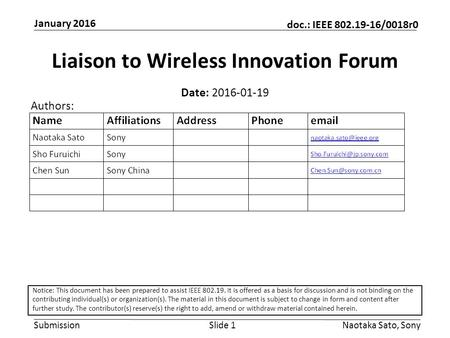 Submission doc.: IEEE 802.19-16/0018r0 January 2016 Naotaka Sato, SonySlide 1 Liaison to Wireless Innovation Forum Date: 2016-01-19 Authors: Notice: This.