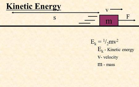 Kinetic Energy m s F v E k = 1 / 2 mv 2 E k - Kinetic energy v - velocity m - mass.