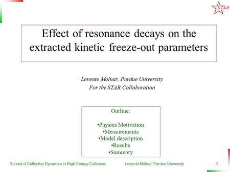 School of Collective Dynamics in High-Energy CollisionsLevente Molnar, Purdue University 1 Effect of resonance decays on the extracted kinetic freeze-out.
