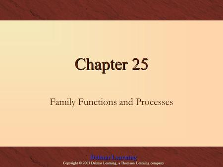 Delmar Learning Copyright © 2003 Delmar Learning, a Thomson Learning company Chapter 25 Family Functions and Processes.