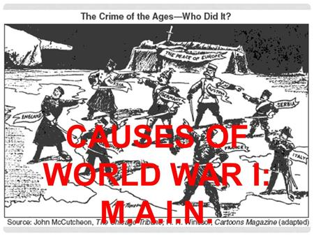 CAUSES OF WORLD WAR I: M.A.I.N.. SETTING THE STAGE Europe in relative peace for 75 years Believed technological progress made war a thing of the past.