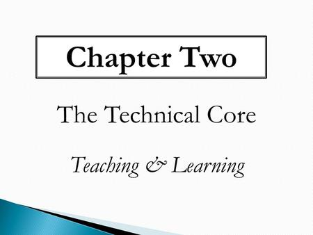 Chapter Two The Technical Core Teaching & Learning.