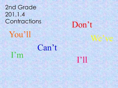 2nd Grade 201.1.4 Contractions Can't Don't I'm I'll You'll We've.