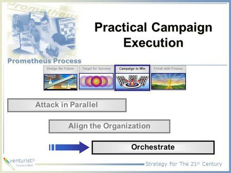 Strategy For The 21 st Century Prometheus Process venturist ® incorporated Practical Campaign Execution Design the FutureTarget for Success Campaign to.