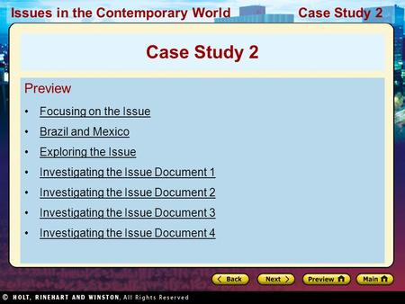 Issues in the Contemporary World Case Study 2 Preview Focusing on the Issue Brazil and Mexico Exploring the Issue Investigating the Issue Document 1 Investigating.