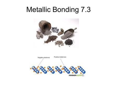 Metallic Bonding 7.3. Electron Sea Model The electron sea model proposes that all the metal atoms in a metallic solid contribute their valence electrons.