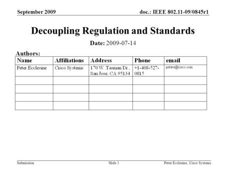 Doc.: IEEE 802.11-09/0845r1 Submission September 2009 Peter Ecclesine, Cisco SystemsSlide 1 Decoupling Regulation and Standards Date: 2009-07-14 Authors: