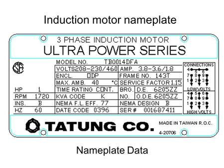 Nameplate Data. INTERNATIONAL STANDARD FOR MOTORS.