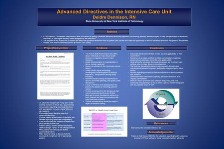 See handout for complete reference list the host Mor Advanced Directives in the Intensive Care Unit Deidre Dennison, RN State University of New York Institute.