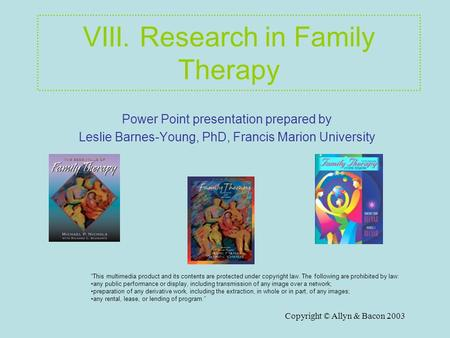Copyright © Allyn & Bacon 2003 VIII. Research in Family Therapy Power Point presentation prepared by Leslie Barnes-Young, PhD, Francis Marion University.