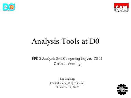 Analysis Tools at D0 PPDG Analysis Grid Computing Project, CS 11 Caltech Meeting Lee Lueking Femilab Computing Division December 19, 2002.